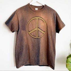 Gildan PEACE Sign Brown Bleached Cotton T Shirt M